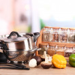Composition of kitchen tools,spices and vegetables on table in kitchen — Stock Photo