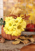Autumnal composition with flowers in basket and leaves on bright background — Stock Photo