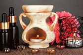 Aromatherapy lamp on grey background — Stock Photo
