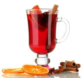 Fragrant mulled wine in glass isolated on white — Stock Photo