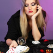Stock Photo: Witch - fortune teller on color background