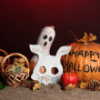 Trick or treat halloween masks and  buckets filled with cookies on color background — Foto de Stock