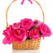 Beautiful pink roses in basket isolated on white - Stock Photo