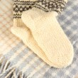 Warm knitted socks on plaid close-up — Stock Photo #18996879