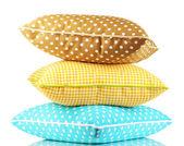 Azuis, marrons e amarelas brilhantes almofadas isoladas no branco — Foto Stock
