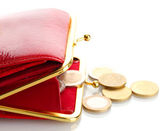 Female red wallet with coins isolated on white — Stock Photo