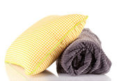 Warm plaid and color pillow, isolated on white — Stock Photo