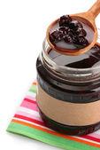 Tasty berry jam, isolated on white — Stock Photo