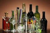 Collection of various glasses and drinks on color background — Stock Photo