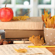 Autumnal composition with gift, books and leaves on bright background — Stock Photo #19022731
