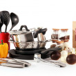 Composition of kitchen tools,spices and vegetables isolated on white — Stock Photo #19023283