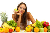 Beautiful young woman with fruits and vegetables, isolated on white — Foto Stock