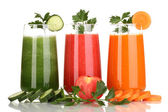 Fresh vegetable juices isolated on white — Photo