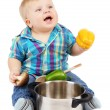 Little boy with pan and vegetables, isolated on white — Stock Photo