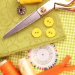 Sewing accessories and fabric close-up — Stock Photo #19086943