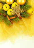 Beautiful christmas composition on golden cloth — Stock Photo