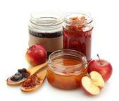 Tasty homemade jam, isolated on white — Stock Photo