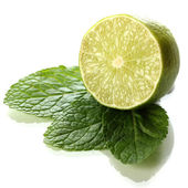 Mint with lime isolated on white — Stock Photo