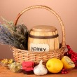 Honey and others natural medicine for winter flue, on wooden table on brown background — Stock Photo #19159549