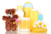 Baby cosmetics isolated on white — Stock Photo