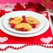 Table setting in honor of Valentine's Day close-up — Stock Photo #19163439