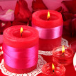 Decorated candles on celebratory table close-up — Stock Photo #19163457