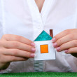 Concept: woman hands with paper house, close up — Stock Photo #19163543