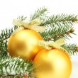 Christmas balls on fir tree with snow, isolated on white — Stock Photo #19163599