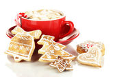 Cup of coffee with Christmas sweetness isolated on white — Photo