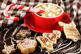 Cup of coffee with Christmas sweetness on plaid close-up — Stock Photo