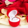 Beautiful box with ring on red, white and pink rose petals background isolated on white — Stock fotografie