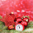 Christmas decoration on red background - Stock fotografie