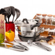 Composition of kitchen tools,spices and vegetables isolated on white - Foto Stock