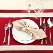 Holiday table setting, close up - Zdjęcie stockowe