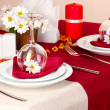 Elegant table setting in restaurant — Stock Photo #19275915