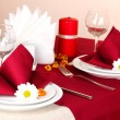 Elegant table setting in restaurant — Stock Photo