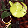Chinese tea ceremony on bamboo table close-up — Stock Photo