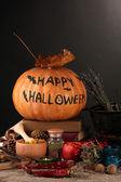 Scary halloween laboratory, close-up — Stock Photo