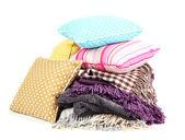 Plaids and color pillows, isolated on white — Stock Photo