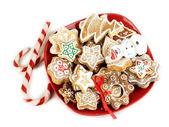 Navidad trata sobre placa aislada en blanco — Foto de Stock
