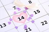 Notas sobre o calendário (dia de São Valentim), close-up — Fotografia Stock