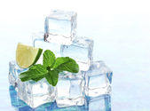 Ice with mint and lime on light background — Stock Photo