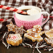 Cup of coffee with Christmas sweetness on plaid close-up — Stock Photo #19307237