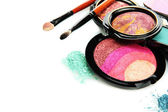Bright eye shadows and rouge with brushes, isolated on white — Stok fotoğraf