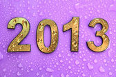 2013 in golden numbers, on blue background — Stock Photo
