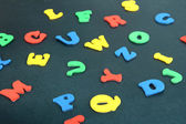 Colorful letters on school board close-up — Stock Photo