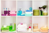 Bath accessories on shelfs in bathroom — Stock Photo