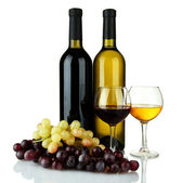 Composition of wine and grapes isolated on white — Stock Photo