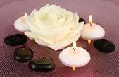 Pietre spa con fiori e candele in acqua sulla piastra — Foto Stock