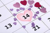 Notas sobre el calendario (día de San Valentín), close-up — Foto de Stock